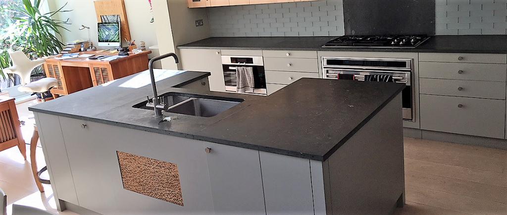 Belgian Blue Limestone worktops in 30mm thickness