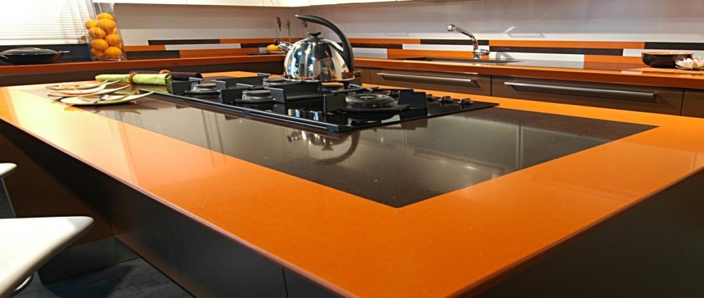 Yellow and Orange Quartz Worktops
