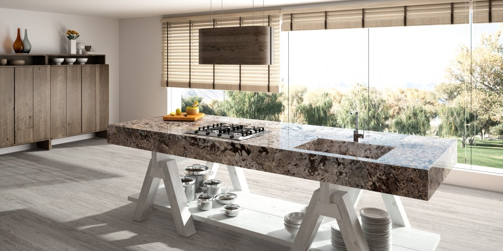 Bianco Antico Granite island with a built up edge with Sensa protection treatment by Cosentino