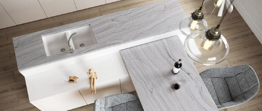 Sensa White Macaubas quartzite kitchen worktops and island