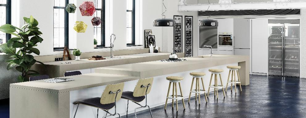Compac quartz Grey Concrete kitchen worktops