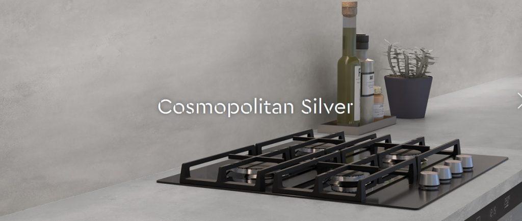 Kitchen worktops and splashbacks in Ceralsio Cosmopolitan Silver