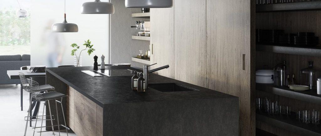 Dekton worktops and kitchen island in model 'Milar'