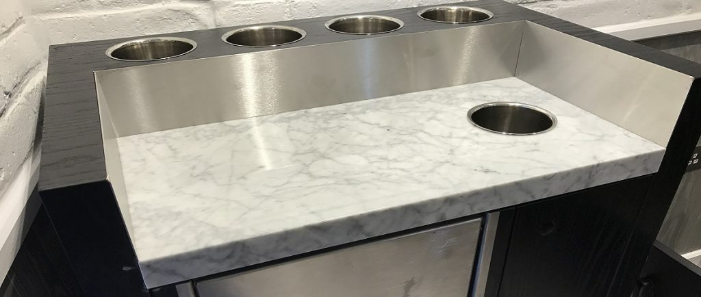 White Carrara Marble Worktops in a commercial kitchen